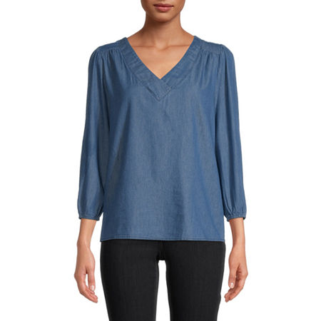 St. John's Bay Womens V Neck 3/4 Sleeve Blouse, Small , Blue