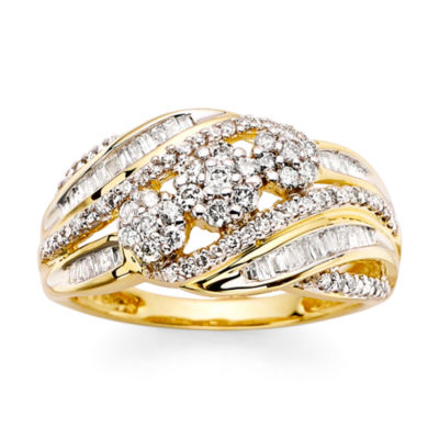 3/4 CT. T.W. Diamond 10K Yellow Gold Flower Cluster Ring