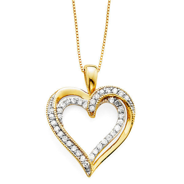 16 ct tw diamond knot heart 10k yellow gold pendant 2 tw diamond 10k yellow gold openwork double heart pendant necklace mozeypictures Image collections
