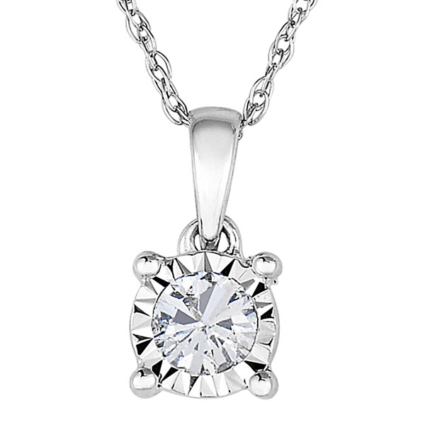 TruMiracle® 1/7 CT. Diamond 10K White Gold Round Pendant Necklace