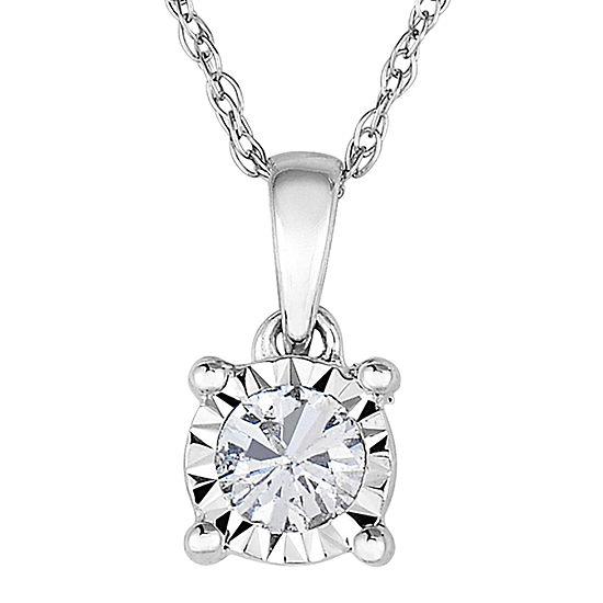 TruMiracle® 1/7 CT. Diamond 10K White Gold Round Pendant Necklace