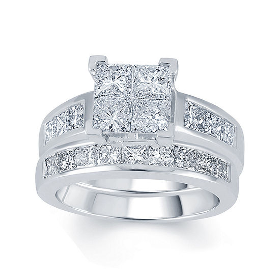 3 CT. T.W. Diamond 14K White Gold Quad Princess Bridal Ring Set