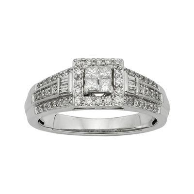1/2 CT. T.W. Diamond 10K White Gold Quad Princess Bridal Ring