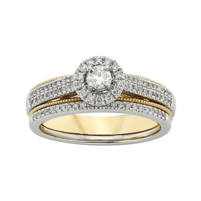 1/2 CT. T.W. Diamond 10K Two-Tone Gold Milgrain Bridal Ring Set