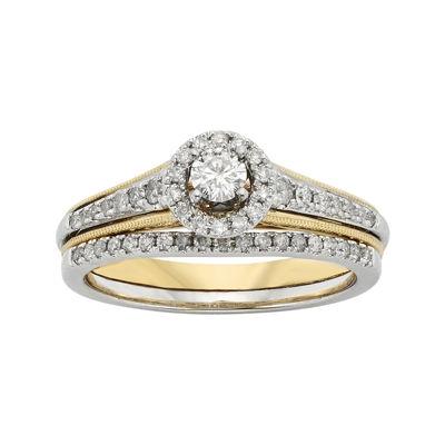 1/2 CT. T.W. Diamond 10K Two-Tone Gold Milgrain Bridal Ring Set