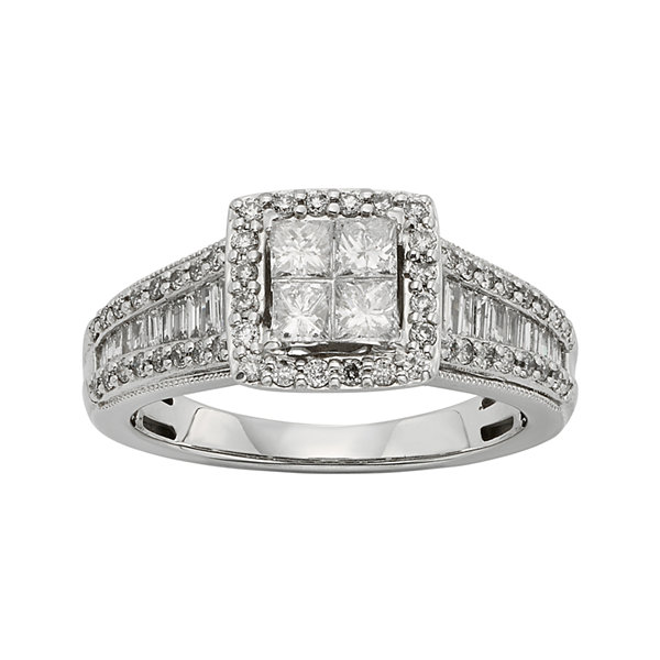 1 CT. T.W. Diamond 10K White Gold Quad Princess Ring