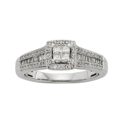 1/2 CT. T.W. Diamond 10K White Gold Quad Princess Bridal Ring