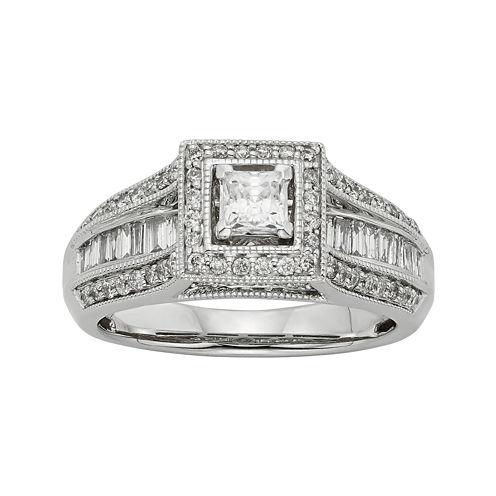 1 CT. T.W. Diamond 10K White Gold Princess-Cut Milgrain Bridal Ring