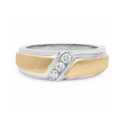 Mens 1/4 CT. T.W. Diamond 10K Two-Tone Gold 3-Stone Wedding Band