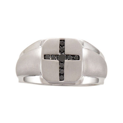 Mens 1/4 CT. T.W. Color-Enhanced Black Diamond Sterling Silver Mens Cross Ring