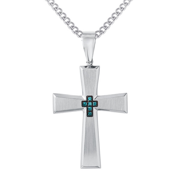 Mens Color-Enhanced Blue Diamond-Accent Stainless Steel Cross Pendant Necklace