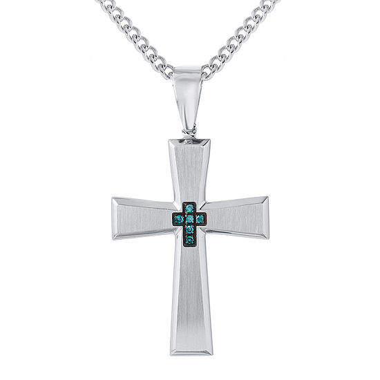 Stainless steel cross pendant 1 mens color enhanced blue diamond accent stainless steel cross pendant necklace aloadofball Images