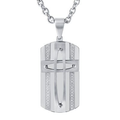 Mens Stainless Steel Cubic Zirconia Dog Tag Cross Pendant Necklace