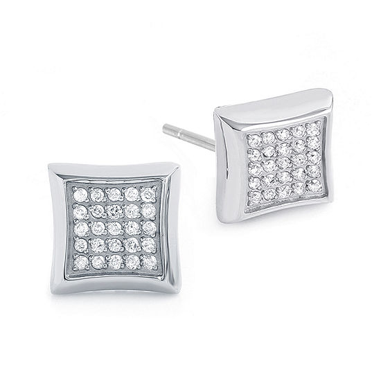 Mens 1/4 CT. T.W. Diamond Stainless Steel Stud Earrings