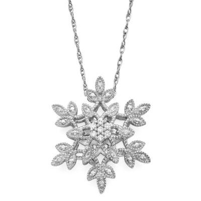 diamond blossom 1/10 CT. T.W. Diamond Cluster Snowflake Sterling Silver Pendant