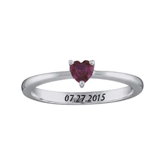 Personalized Girls Heart Birthstone Ring