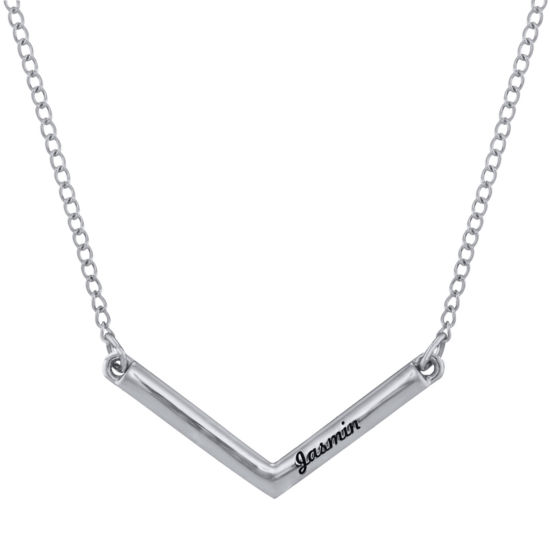 Personalized V-Shaped Engraved Necklace