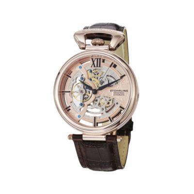 Stührling® Original Mens Rose-Tone Dial Skeleton Automatic Watch