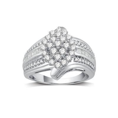 1 CT. T.W. White Diamond 10K Gold Cocktail Ring