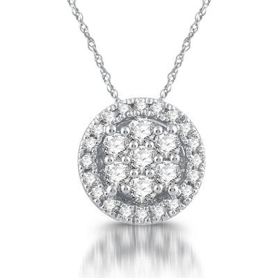 Diamond Blossom Womens Genuine White Diamond 10K Gold Pendant Necklace