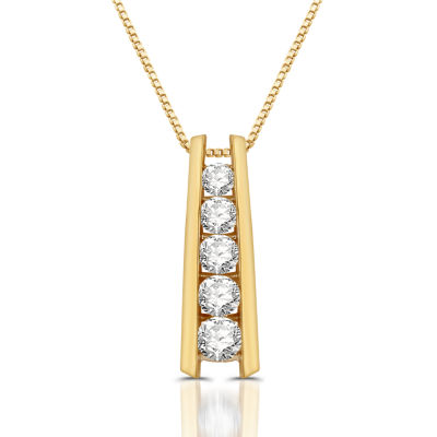 Womens 1 1/3 CT. T.W. Genuine White Diamond 10K Gold Pendant Necklace