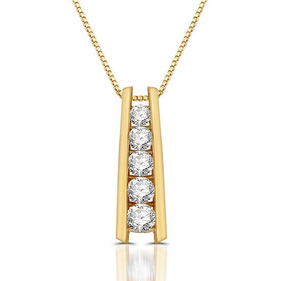 Womens 1 1/3 CT. T.W. Genuine White Diamond 10K Gold Pendant Necklace