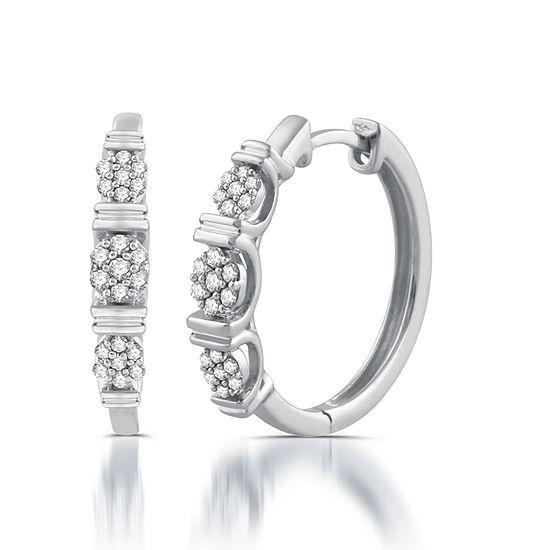 1 5 Ct Tw Genuine White Diamond 10k Gold 181mm Hoop Earrings
