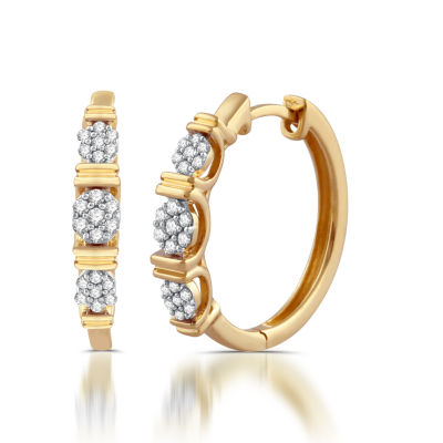 Diamond Blossom White Diamond 10K Gold Hoop Earrings