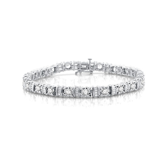 T W White Diamond 10k Gold Tennis Bracelet