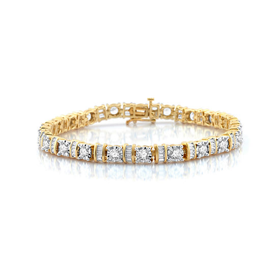 T W White Diamond 10k Gold Tennis Bracelet