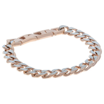 Rose Tone Stainless Steel Solid Curb Chain Bracelet