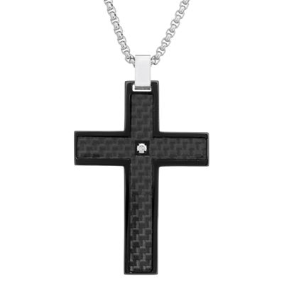 Mens Diamond Accent Diamond Stainless Steel Cross Pendant Necklace