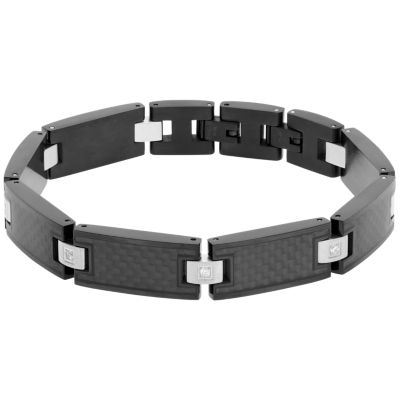 Mens 8.5 Inch 1/8 CT. T.W. Stainless Steel Link Bracelet