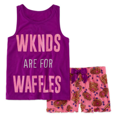 Total Girl 2pc Weekends Shorts Pajama Set - Girls