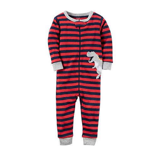 Carter'S Boys 1Pc Cotton Red Dino Stripe Pant Pajama Set