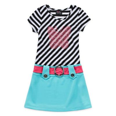 Lilt Stripe Butterfly Short Sleeve Dress Set - Preschool