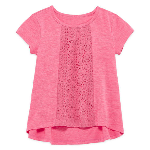 Arizona Girls Short Sleeve Crochet T-Shirt-Preschool
