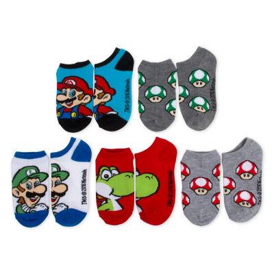 Boys 5-Pk. Super Mario No Show Socks