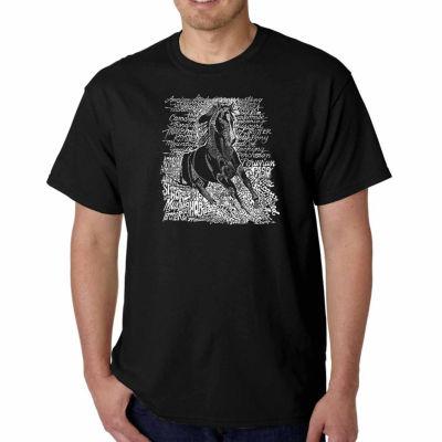Los Angeles Pop Art Popular Horse Breeds Short Sleeve Word Art T-Shirt