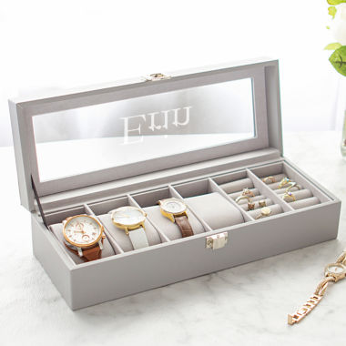 Cathy's Concepts Personalized Leatherette Watch & Jewelry Case