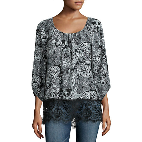 Wallpapher Printed Lace Long Sleeve Top