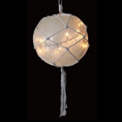 "14.4"" Lighted Roped Off-White Ball Outdoor Christmas Decoration - Clear Lights"""