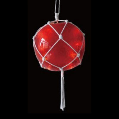 """14.4"""" Lighted Roped Red Ball Outdoor Christmas Decoration - Clear Lights"""""""