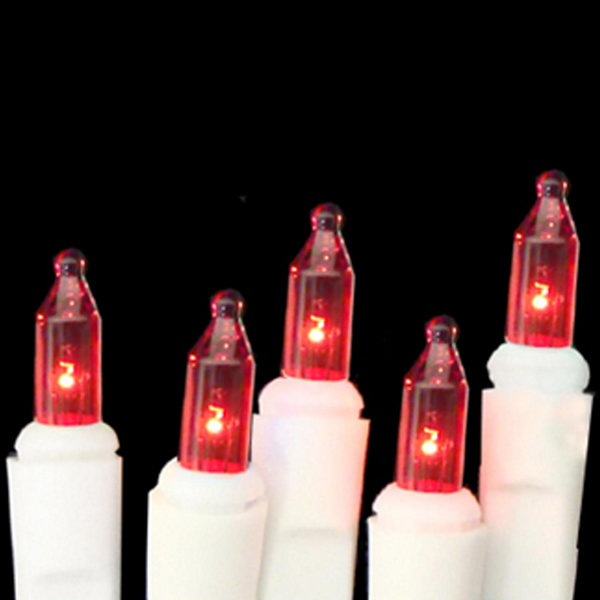 Set of 10 Battery Operated Red Mini Christmas Lights - White Wire