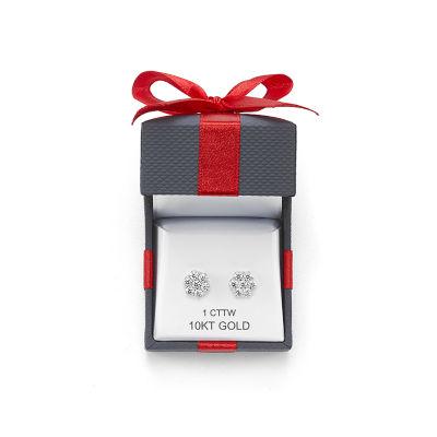 Diamond Blossom Genuine White Diamond 10K White Gold Stud Earrings