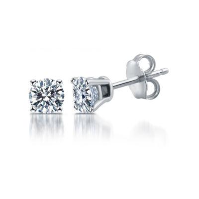 1 1/4 CT. T.W. Genuine White Diamond 14K White Gold 5.4mm Stud Earrings