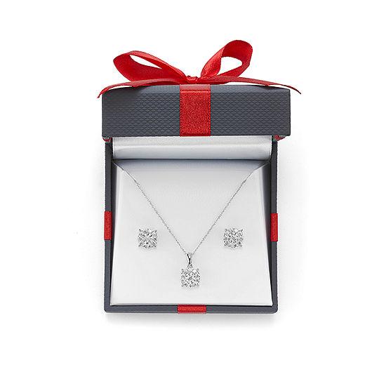 1 CT. T.W. Genuine White Diamond Sterling Silver 2-pc. Jewelry Set