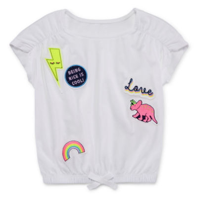 Okie Dokie Short Sleeve Patches Blouse - Toddler Girls