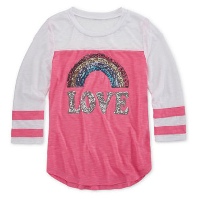 Miss Chievous 3/4 Sleeve Sequin Baseball Tee - Girls' 4-16 & Plus