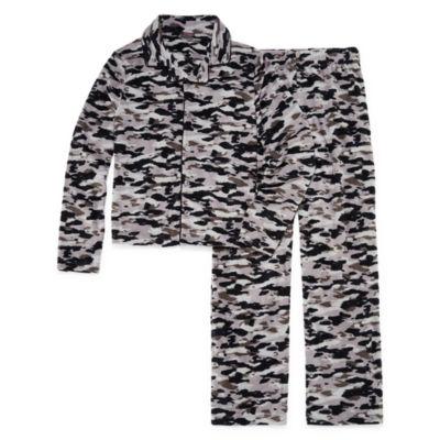 Camo Print 2 Piece Coat Front Pajama Set - Boys 4-20